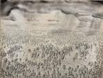 Alle Jong, Hermit & mythological figures in forest landscape, 2019, 50x70 cm Ink, charcoal & aquarelle on 17th century paper