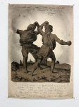 Alle Jong, 'Entellus and Dares fighting in Our chambers of Thought, on the Island of Dreams!', 2019, charcoal on 17th century paper with the engraving of Marco Dante de Ravenna, 41 x 29 cm