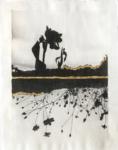 Margaret Lansink, Flowers, 2020 | collage printed on Kizuki handmade Washi paper, mended with 23Kt gold leaf | 29 x 22 cm | ed. 3 + 2 AP