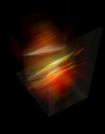 "Ola Lanko, Light, 2021   3D render based on the ""light"" vases (artworks Axis)   Fuji Crystal Archive, mounted on Dibond, black oak box frame with Perspex   90 x 70 cm   Ed. 3 + 2 AP"